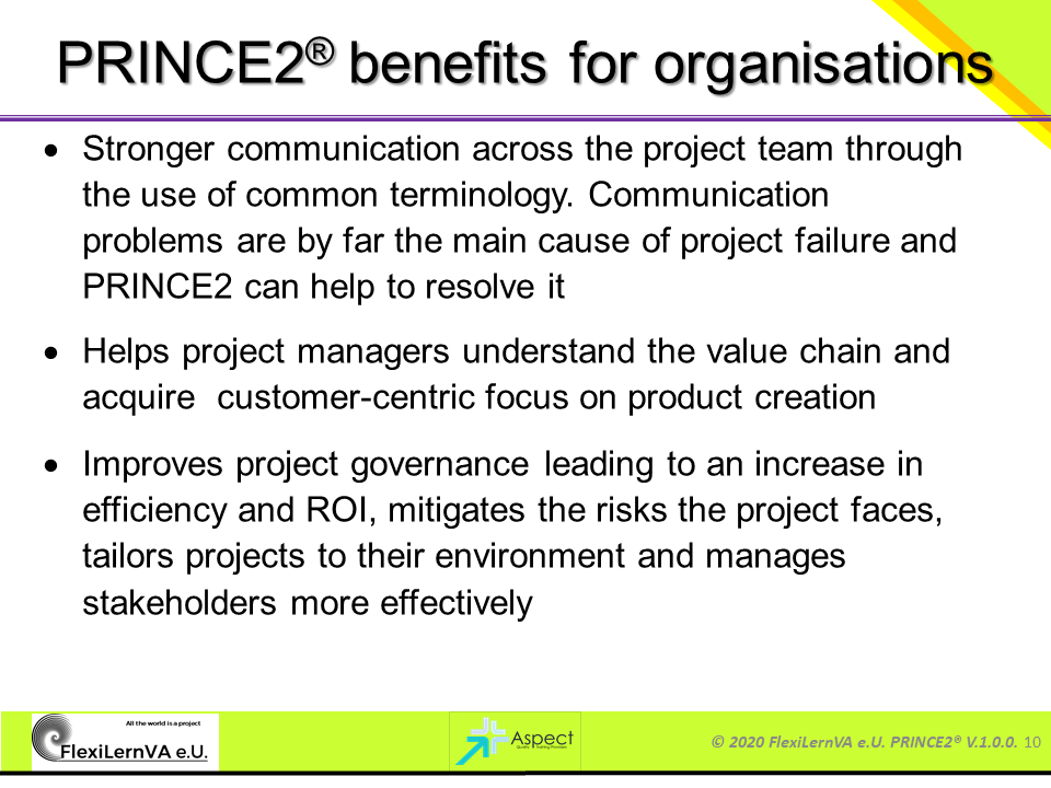 prince2 benefits for organisations