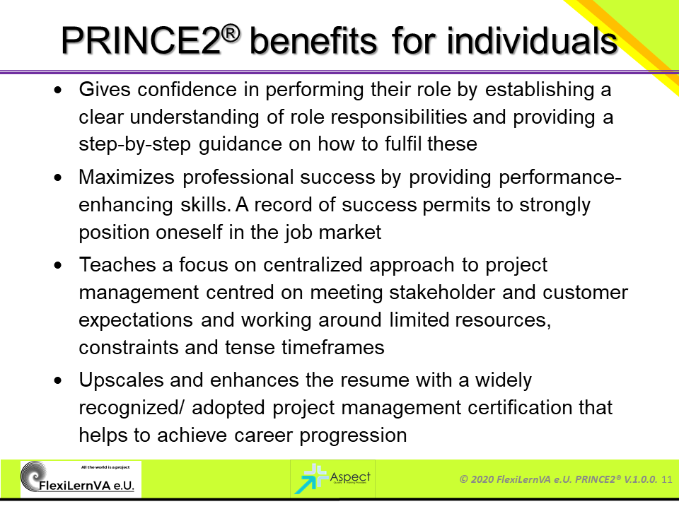 prince2 benefits for individuals
