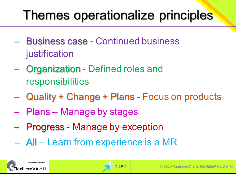 project management best practice prince2 themes and principles