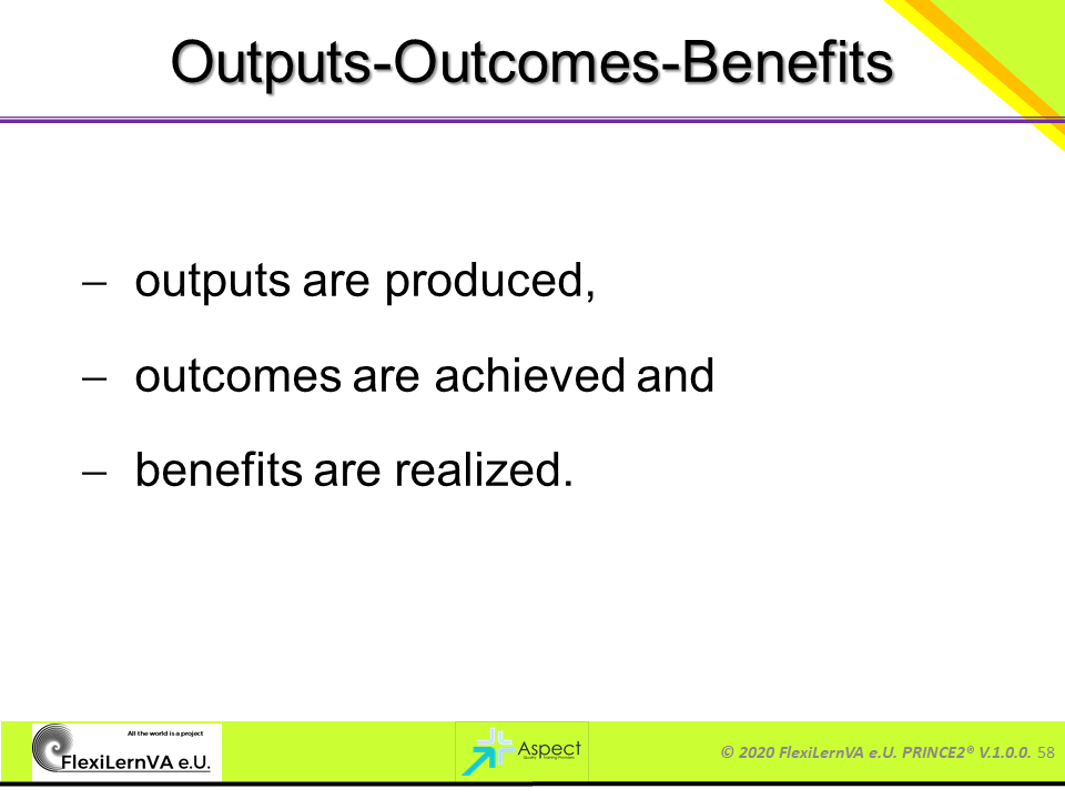 prince2 outputs outcomes benefits