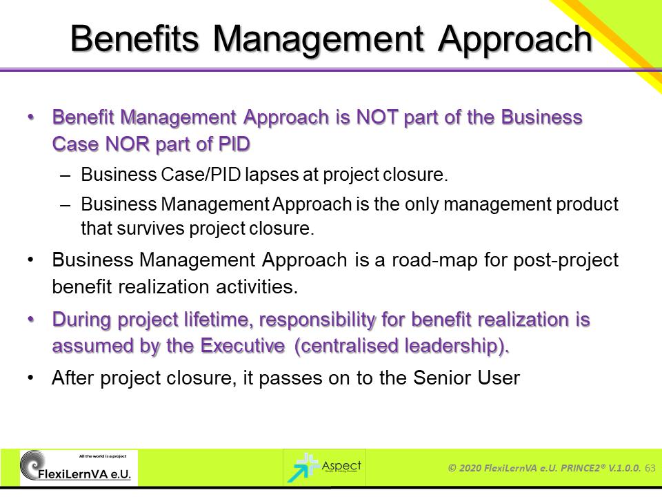 project management best practice prince2 benefits management